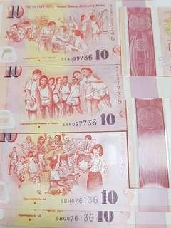 """📕NEW YEAR GIFTS using SAME IDENTICAL NUMBERS NOTES.《36+36+36+36》 🆎 Collective items for higher future values. 🆎 We can see  """"SG50""""  printed in every piece of special $10 notes 🆎 Each piece notes is $5 premium or $15"""