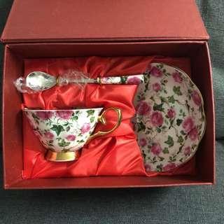 陶瓷 玫瑰花茶杯套裝 Rose tea set ceramic