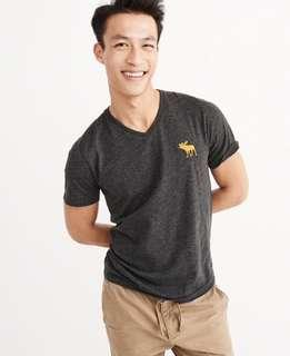 AUTHENTIC NEW A&F MENS BIG ICON CREW TEE M SIZE <<GREY>>