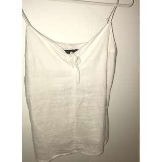 GLASSONS WHITE LINEN CAMI WITH BOW