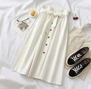 Button Mid Long Skirt