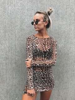 Tiger Mist Sheer Leopard Dress