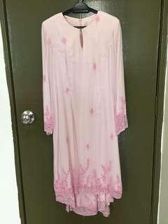 Baju Kurung Moden Chiffon Silk with nice beading size XL