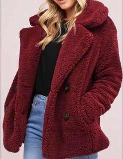 Teddy Fur Coat BNWT Burgundy