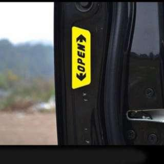 Car Door OPEN Warning Stickers Reflective YELLOW 4PC
