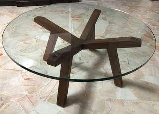 LUSH Clear Tempered Glass Coffee Table with Walnut Finish