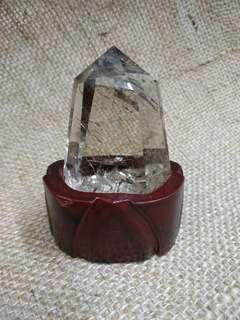 茶水晶髮晶柱 帶彩虹膠 晶體通透 送底座