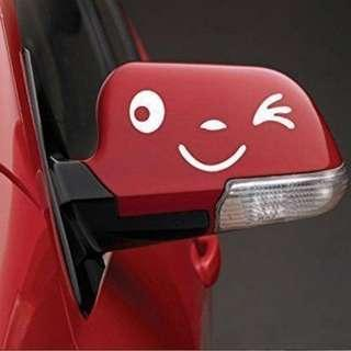 Side Mirror Car Reflective Smiling Face White 3D Sticker (1 Pair)