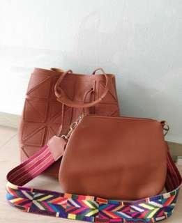 Bucket Bag with Sling Bag (colorful stripe)