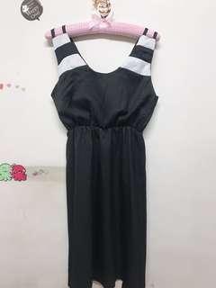 🚚 黑色厚雪紡小洋裝
