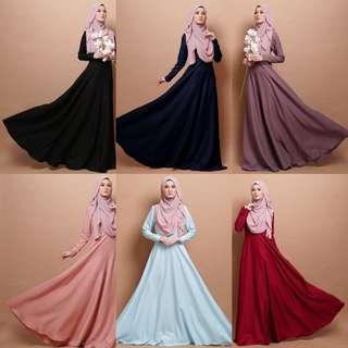 AZZA PRINCESS DRESS 2018 baju jubbah abayah abaya jubah top blouse peplum bridesmaid dresses instant shawls