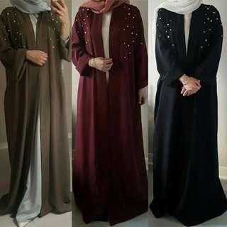 Muslim Kaftan Abaya Jilbab Lace Loose Maxi Dress Pearl Lace Robe