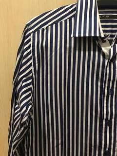 Blue and White Striped Formal Work Shirt
