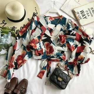 Jess Floral Self Tied Bow Blouse