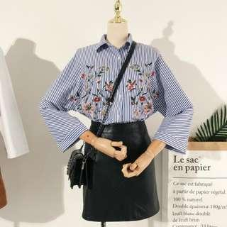Embroidery Floral Stripes Blouse