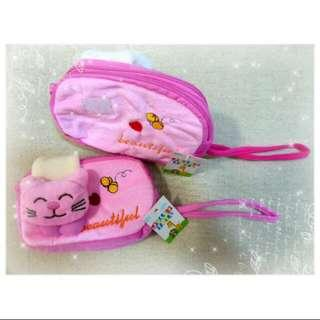Baby/ Kids Party Gift/ Present - Cute Coin Purse / Small Bag / Phone Pouch / Mobile Pouch - Pink Cat/ Green Frog/ Brown Monkey (1 pc)