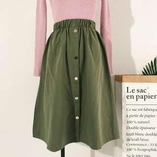 Button Down Midi Skirt