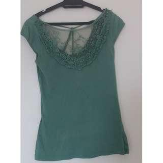 Green T-Shirt Blouse with Lace