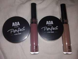 AOA Liquid Lipstick and Powder Bundle LAST PRICE