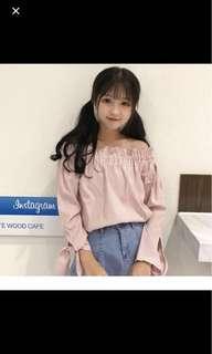 Korean Cute pink checkered ribbon off shoulder top