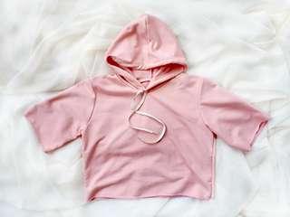 Baby Pink Crop Hoodie