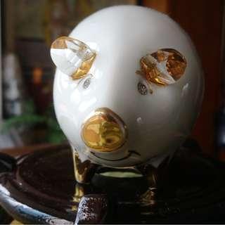 金鉑晶鑽白瓷豬