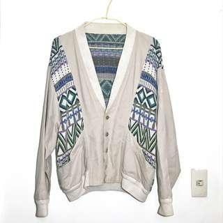 🚚 古著 •USA• 紫羅蘭花園駝色棉質針織外套