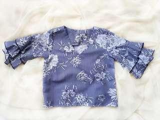 Blue Floral Stripes Top w/ Ruffle Sleeves