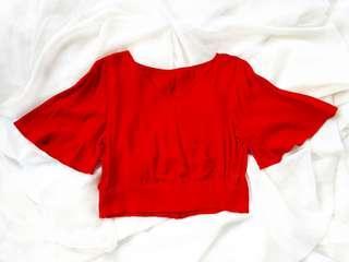 Red Crop Top w/ Bell Sleeves