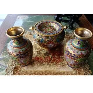 景泰藍花瓶煙缸三件組