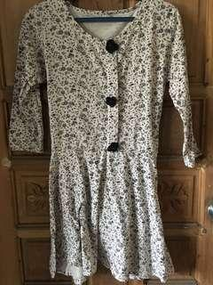 KOREAN FLORAL LONG SLEEVES DRESS