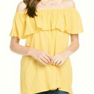 Pale yellow off-shoulder