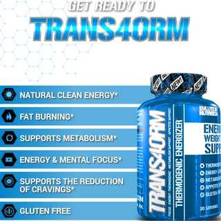 🚚 EVLUTION NUTRITION TRANS4ORM Thermogenic for Fat Loss Energized Weight Loss Support 120 Capsules