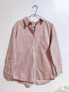 🚚 全新轉賣 LULUS 燈芯絨單口袋襯衫 粉色