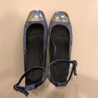 ASOS Blue Velvet Strappy Block Heels