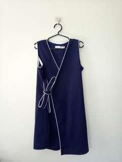 Dark blue wrap dress