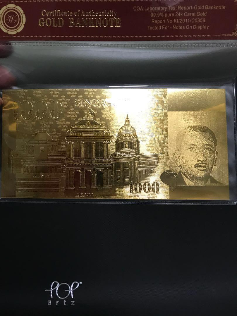 24k 999 pure gold plated $1000 SGD bank note, Vintage