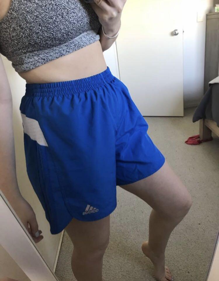 Adidas blue retro high waisted running sports fashion shorts size M
