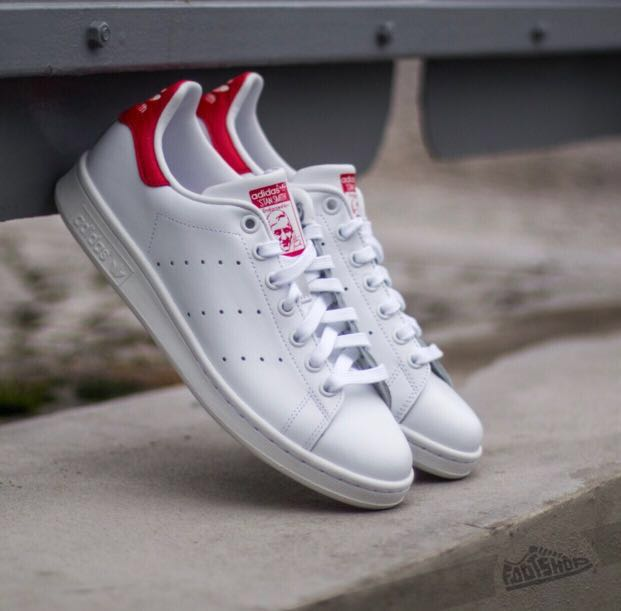online store 8be65 1be0c Adidas Stan Smith Trainers White and Red, Women's Fashion ...