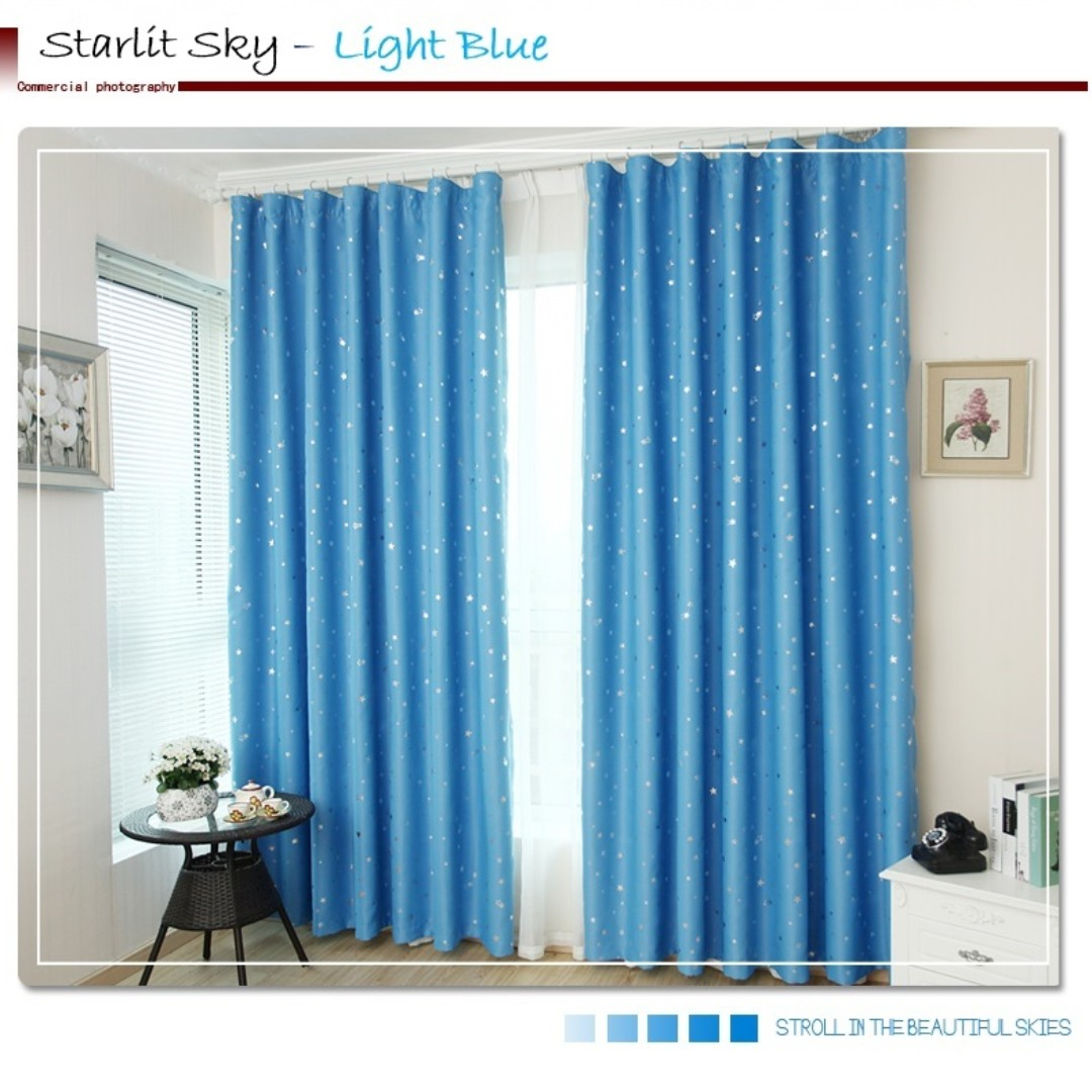 Blackout Curtain Hook Light Blue Furniture Others On Carousell
