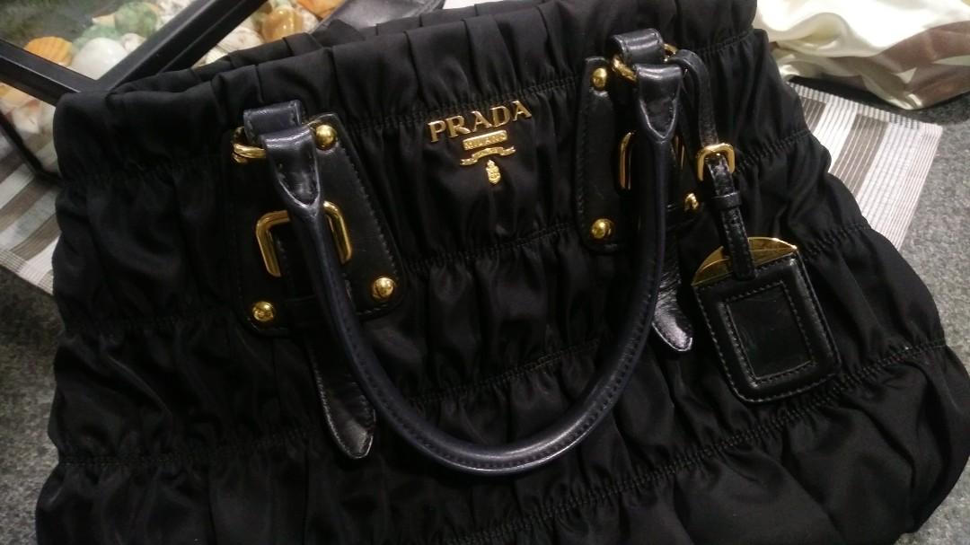 6c664943840281 BN2805 Prada Saffiano top handle Tessuto Gaufre black nylon ruched ...