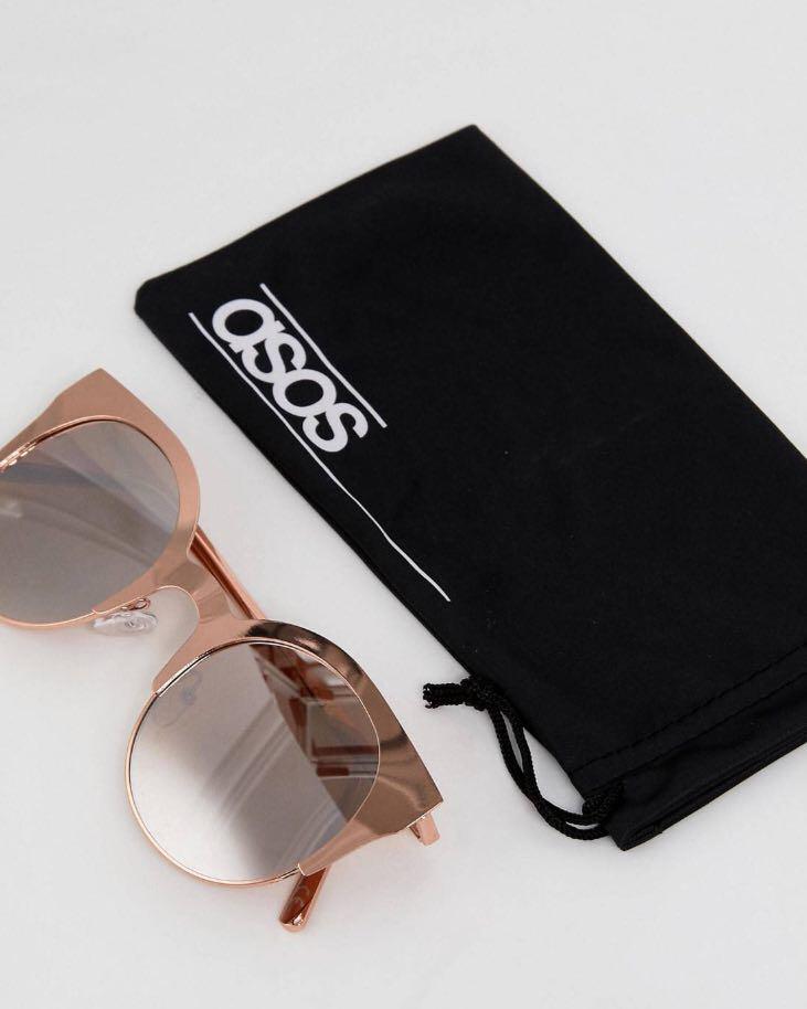 90a230e45 Brand New ASOS Half Kitten Cat Eye metal sunglasses with Rose Gold ...