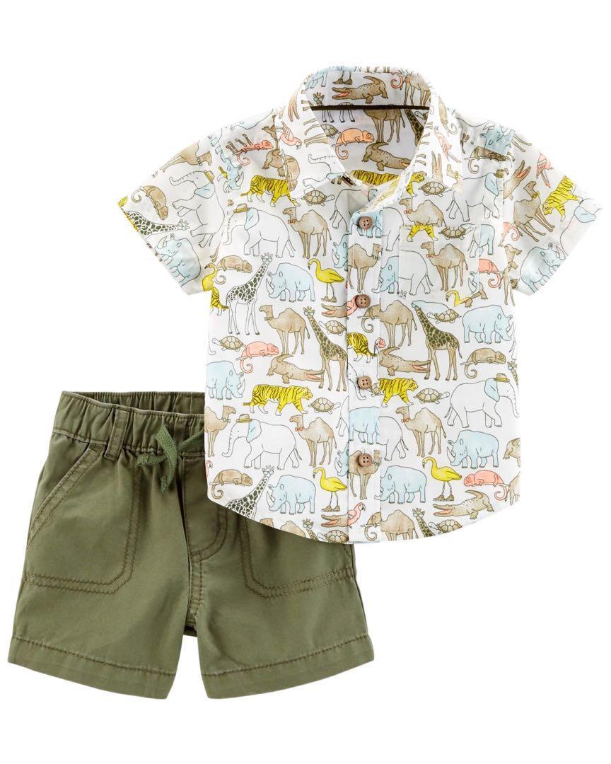 c76a99ac15d9 Carter s Safari Animal Shirt and Shorts set