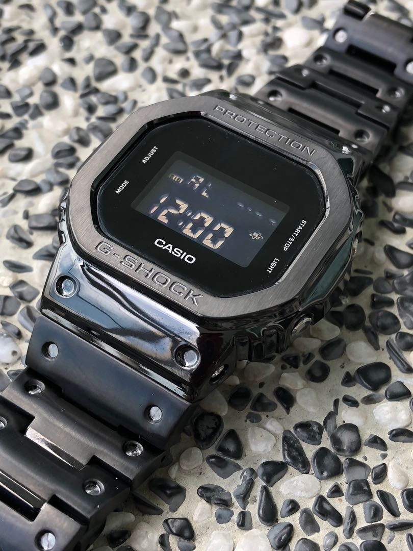Casio G Shock Dw5600 In Black Custom Metal Bezel And Bracelet