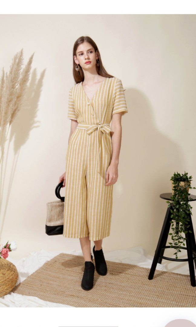 5a43b7a3d02c Celebrate Striped Jumpsuit Yellow
