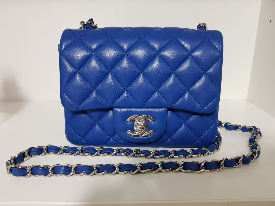 55bd6d4c2a64 Chanel Blue quilted lambskin mini flap bag
