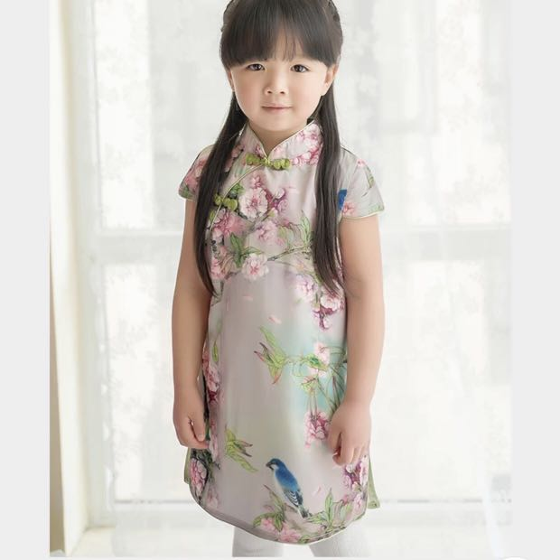 99433f6c8c2f Flower Painting w Bird Cheongsam Qipao for girls kids  PO    Pretty ...