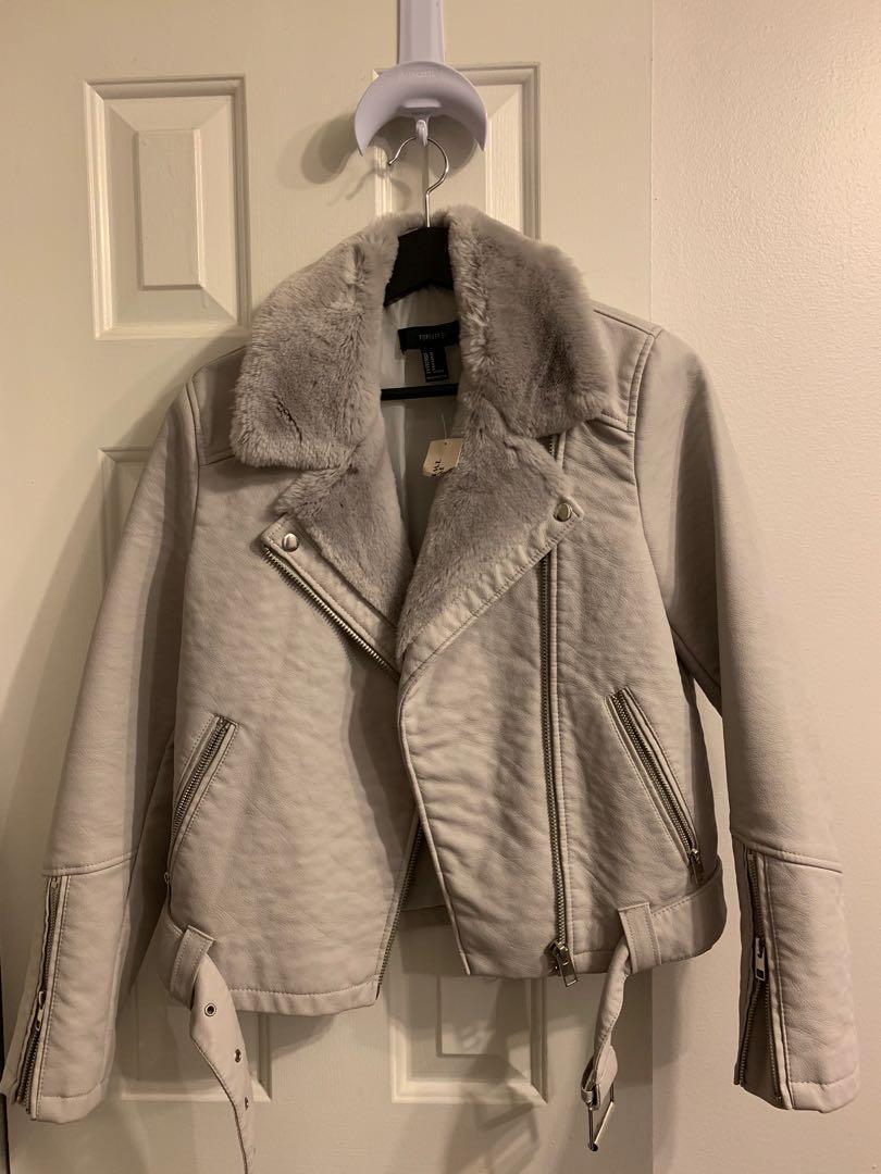 Forever 21 Sz Medium NEW Light Light Grey Faux Fur Moto jacket
