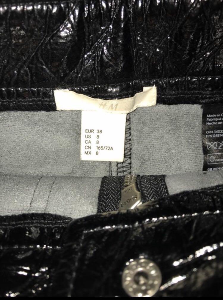 H&M PVC VINYL SHINY LEATHER HIGH WAISTED RETRO SKIRT SIZE 8