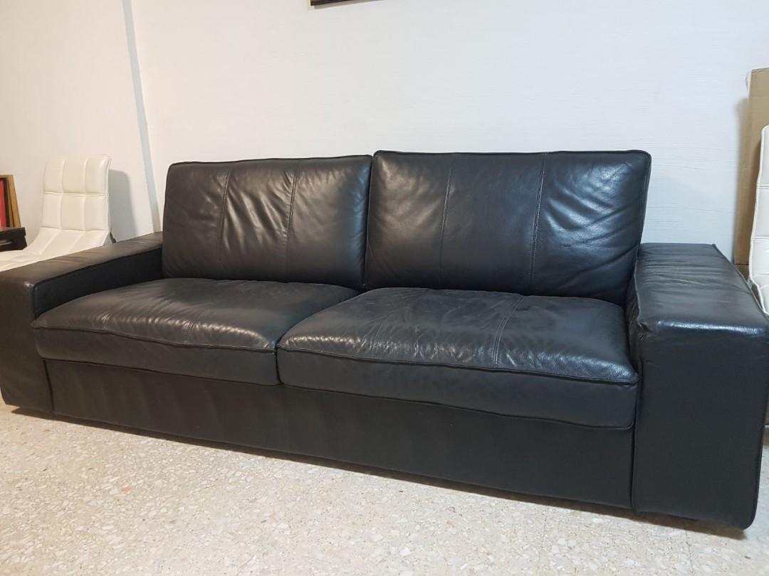 Ikea Kivik leather 3 seater sofa, Furniture, Sofas on Carousell